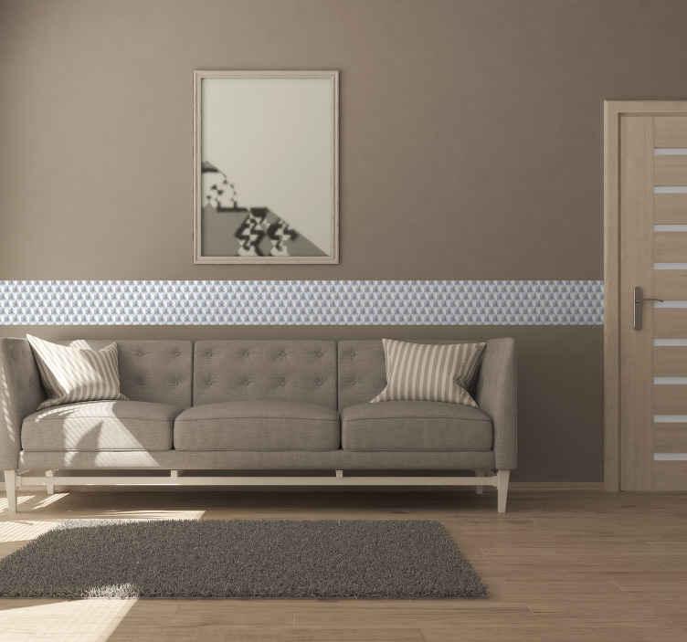 TenStickers. Muursticker stickerrand 3D patroon. Een fraaie stickerrand met een 3D patroon, voor een schitterend modern interieur. Mooie wanddecoratie dat geschikt is voor allerlei plaatsen in huis.