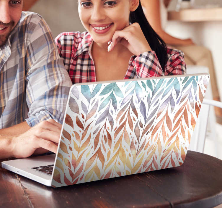 TenStickers. Dekorativt klistermærke til bærbar. Dekorativ farvet blade til din bærbar computer. Giv din computer et flot tropisk design og gør din laptop personlig.
