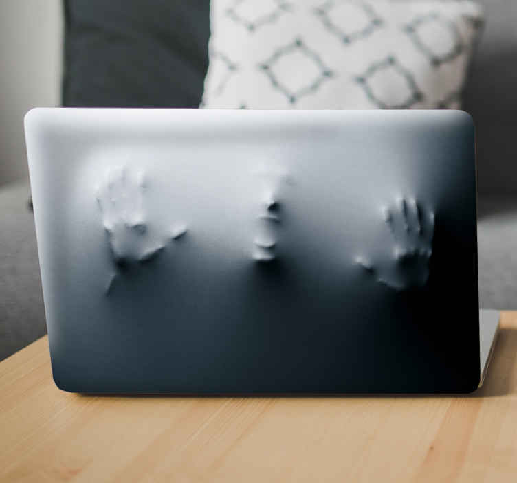 TenStickers. Laptop sticker mysterieus persoon. Een gave laptopsticker van een persoon dat vast zit in jouw laptop. Een laptop skin die mensen ongetwijfeld laat opkijken.
