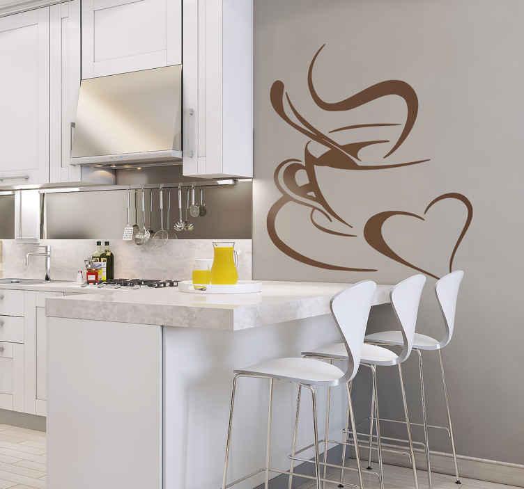TenStickers. Sticker tasse de café cœur. Sticker tasse de café cœur. Montrez votre amour pour le café avec ce sticker au design d'une tasse de café et d'un cœur.