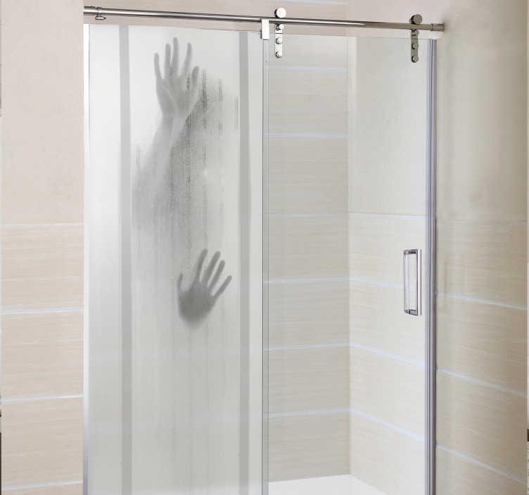TenStickers. Douchedeur sticker afdruk persoon. Een sticker voor de douche die laat lijken alsof iemand zich in de douche bevindt. Originele badkamer decoratie sticker voor aan de douchedeur.