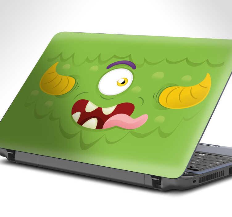TenStickers. Sticker ordinateur enfant monstre. Sticker ordinateur monstre. Votre enfant aime les monstres? Ce sticker d'un un monstre vert avec des cornes tirant la langue est parfait pour son pc.