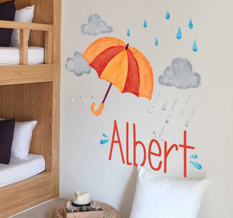 TenVinilo. Vinilo personalizable lluvia otoñal. Pegatinas infantiles de nombre personalizado, ideales para decorar el cuarto de los más pequeños de casa con un lluvioso diseño.