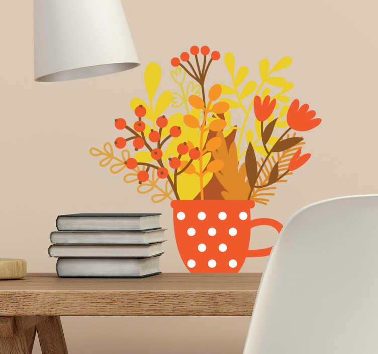 TenVinilo. Vinilos florales tarro otoño. Vinilos ornamentales de flores con un colorido jarrón de topos blancos y una serie de plantas con colores típicos de la estación otoñal.