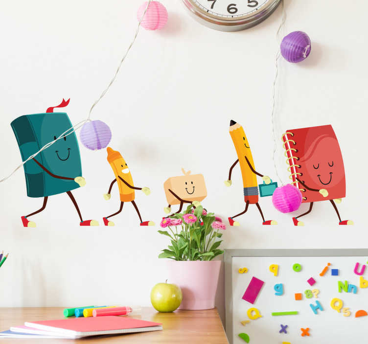 TenStickers. Muursticker kinderen school spullen. Vrolijke muursticker of raamsticker van wandelende schoolspullen. Breng een positieve sfeer om te leren op school of thuis.