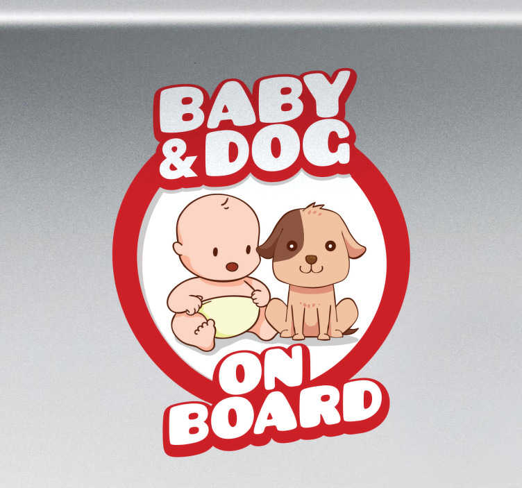 Tenstickers. Tarra Baby and Dog on Board. Tarra Baby and Dog on Board. Hauska ja suloinen tekstitarra autoon, joka kertoo muille autoilijoille, että sinulla on vauva ja koira kyydissäsi!