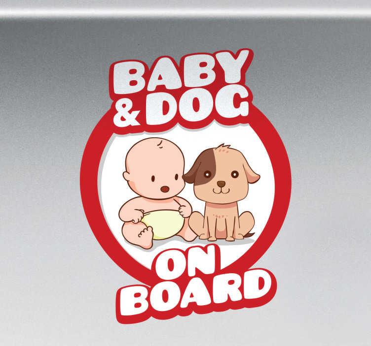 """TenStickers. Autoaufkleber Baby & Dog on Board. Süßer Autoaufkleber mit der Aufschrift """"Baby & Dog on Board"""" für alle, die nicht nur einen Zuwachs zur Familie bekommen haben."""