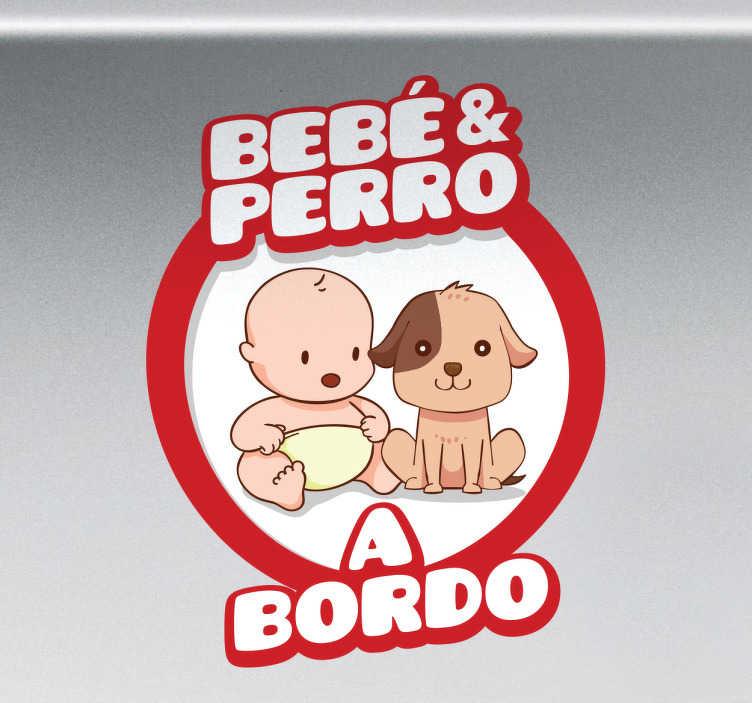 TenVinilo. Pegatina coche bebé y perro a bordo. Adhesivos para vehículos con una señalización con la que advertir al resto de conductores que en tu coche viaja tu hijo y tu mascota.