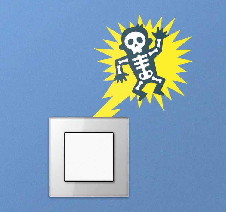 TenStickers. Sticker interrupteur homme électrocuté. Sticker interrupteur homme électrocuté. Décorez de façon amusante votre interrupteur de lumière avec ce sticker d'un squelette et d'un éclair.