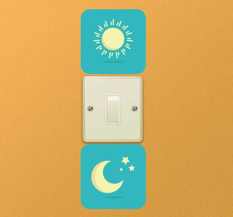 TenStickers. Lichtschalter Aufkleber Tag/Nacht. Schöner Lichtschalteraufkleber mit einer Sonne und einem Mond. Dekorativer Hinweis für das Ein und Ausschalten des Lichtes.