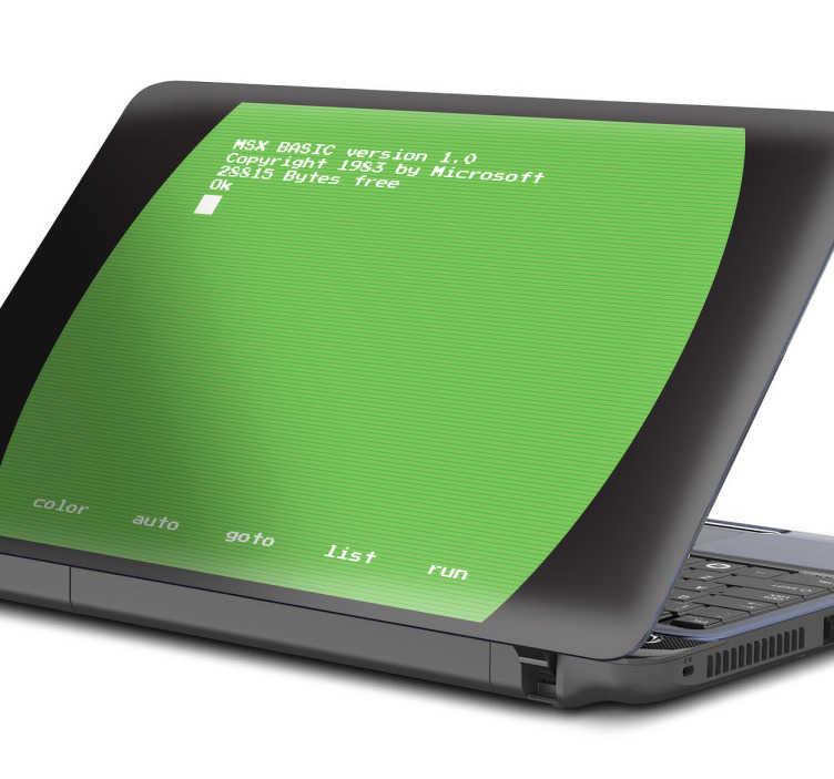Tenstickers. Msx-näyttö kannettavan tietokoneen iho. Kannettavan tietokoneen tarra, jossa on ensimmäisten tietokoneiden, tässä tapauksessa msx, tyypillisen vihreän fosforinäytön rento.
