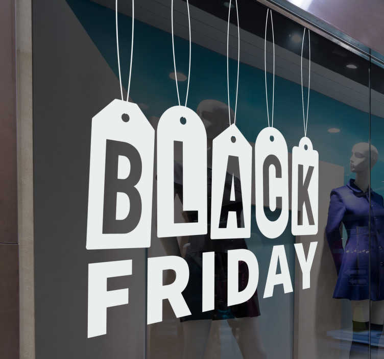 TenStickers. висит черная наклейка окна в пятницу. Потрясающая виниловая наклейка с надписью «чёрный», написанной тегами, и «пятница» под ней! против пузырей и против морщин винил.
