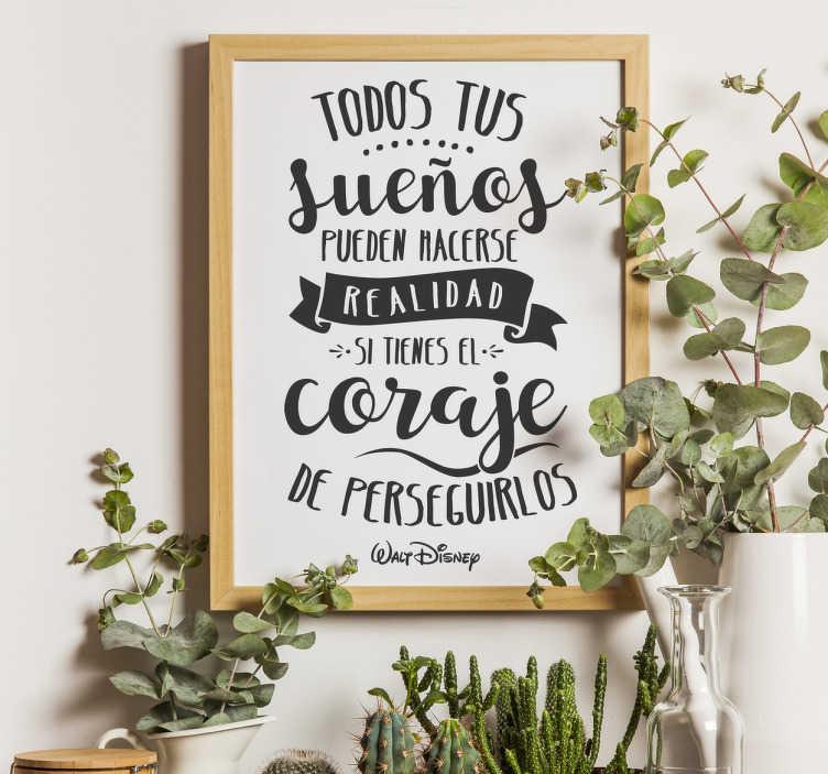 Vinilo frase lettering sueños y coraje