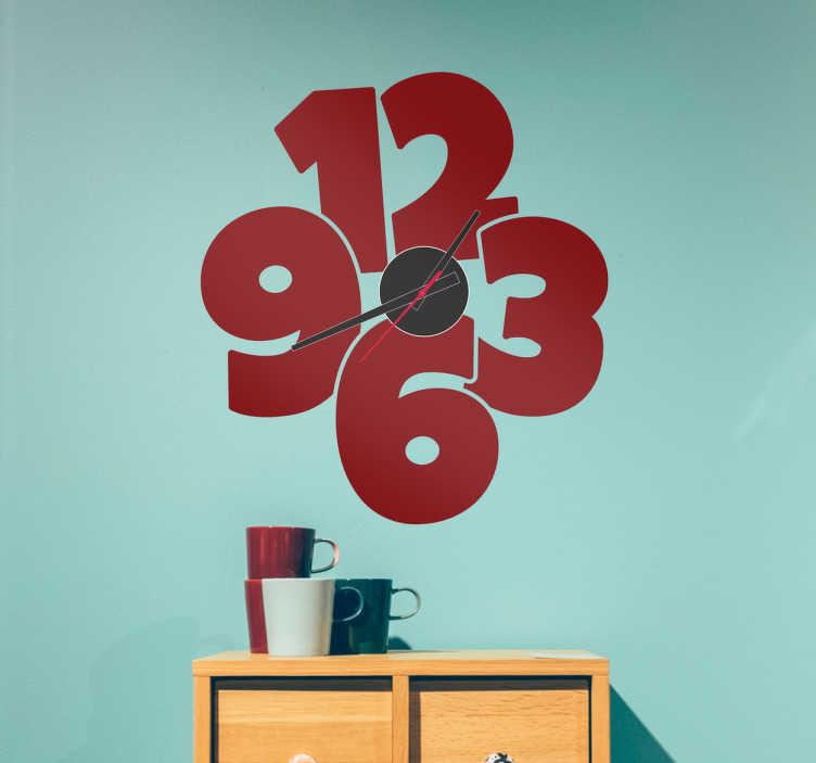 TenStickers. Adesivo decorativo orologio numeri grandi. Adesivo murale decorativo a forma di orologio, con compreso il meccanismo e le lancette. Decora la tua parete con questo orologio adesivo.