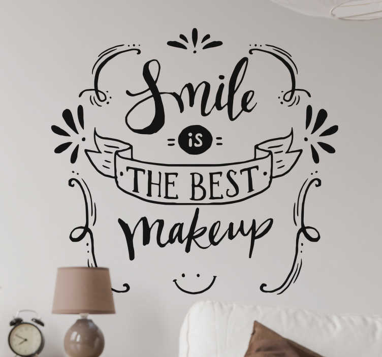 "TenStickers. The best makeup motivational sticker. Motivational quote wall sticker with the English phrase ""a smile is the best makeup"" with an elegant design, ideal to decorate any room in your house."