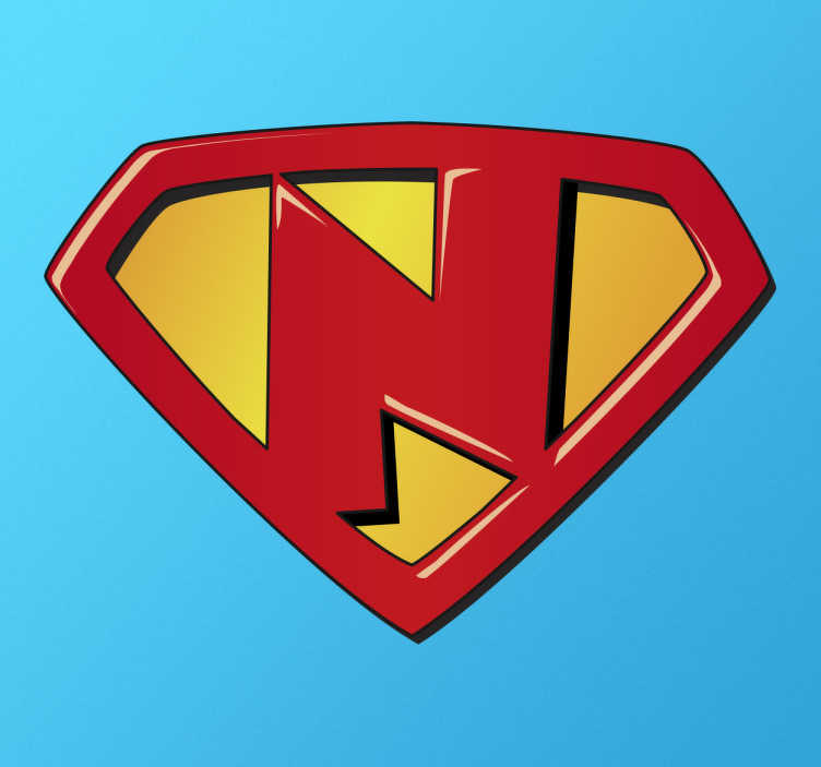 TenStickers. Sticker kind super N. Heeft u een echte superheld in huis met de voorletter N? Deze mooie sticker is dan precies wat u zoekt. Leuk voor muur, deur of raam.