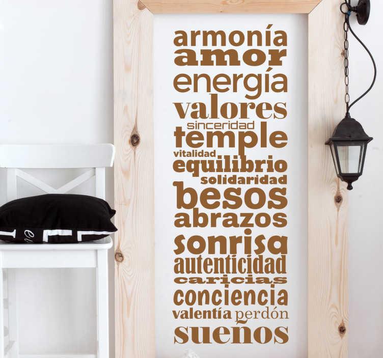 TenVinilo. Vinilo de texto conceptos positivos. Vinilos murales exclusivos, con una lista de distintas palabras en composición vertical, una serie de conceptos que ligan con tu filosofía de vida.