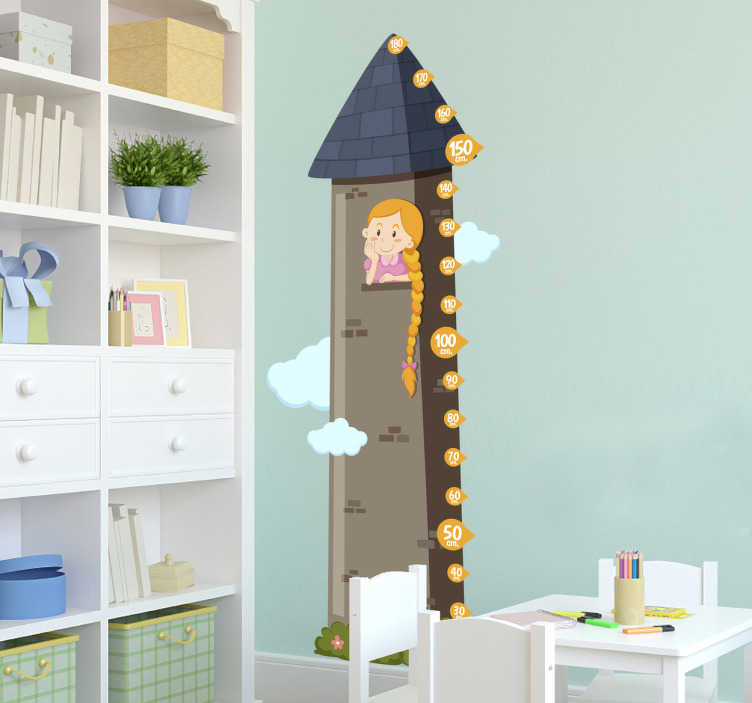 TenVinilo. Vinilo infantil medidor Rapunzel. Vinilos medidores pared con diseño original en el que aparece representada una linda princesa atrapada en un alto torreón.