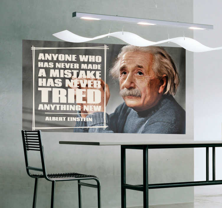 TenStickers. Sticker citation Einstein mistake. Sticker d'une citation du célèbre théoricien Albert Einstein en anglais avec son portrait réalisé en couleurs.