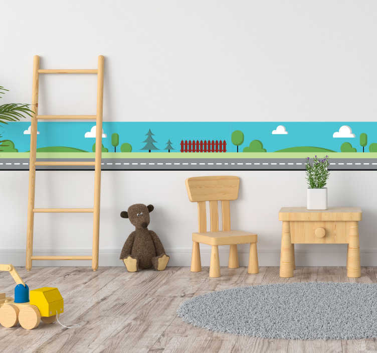 TenStickers. Town road border sticker. Self-adhesive wall border sticker ideal for decorating the kids room a drawing of a road and in the background a country landscape.