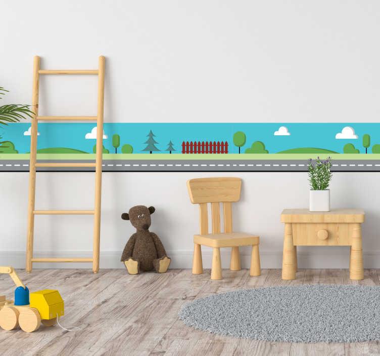 TenStickers. Orlatura infantile strada. Adesivo murale utilizzabile come orlatura per il proprio muro o per la stanza dei propri figli, raffigurante una strada alberata immersa nel verde.
