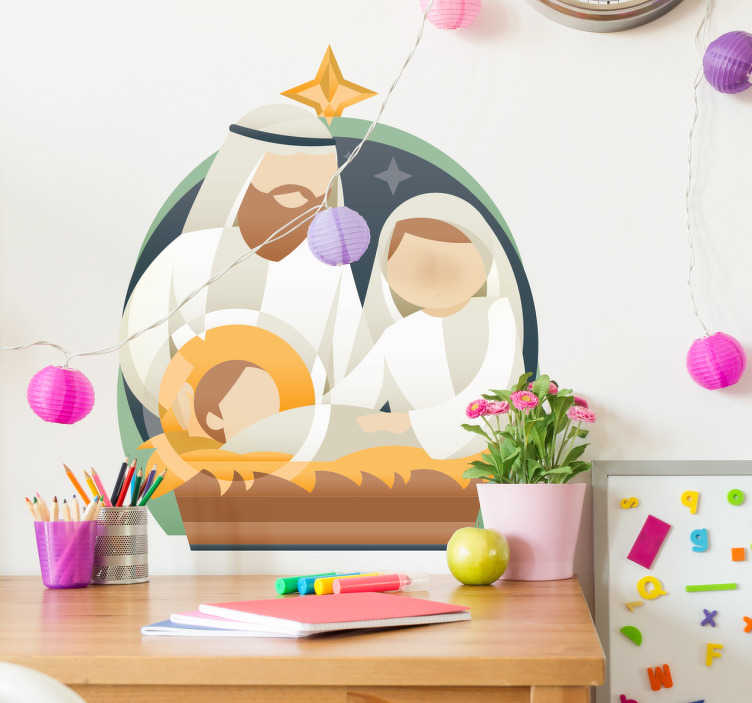 TenStickers. Decoratie sticker kerststal. Fraaie decoratieve sticker van een kerststal met Maria en Jozef, en kindje Jezus in zijn kribbe. Fraaie decoratie voor een zalig kerstmis.