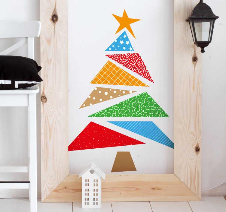 TenVinilo. Vinilos Navidad árbol colorido. Vinilos decorativos navideños con la representación del perfil de un ábeto con formas triangulares, vivos colores y texturas modernas.