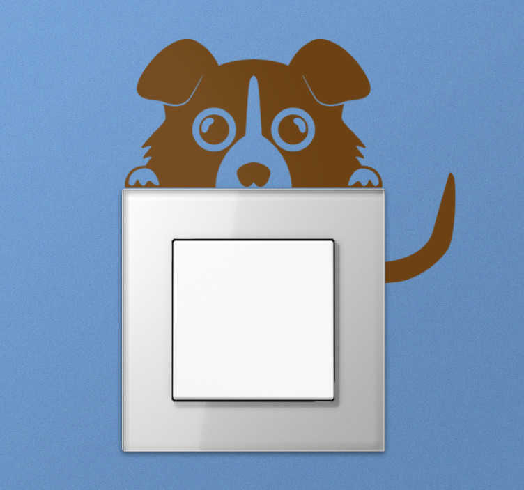 TenStickers. Dog staring light switch cover sticker. Light switch sticker with a funny dog hidden behind the plug. Choose the color that best suits the decor of the room you want to decorate.
