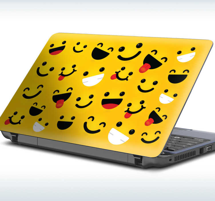 TenStickers. Sticker pc portable smiley. Sticker pour pc portable représentant des smiley sur un fond jaune. Autocollant fun et cool pour PC portable, Mac ou tablettes.
