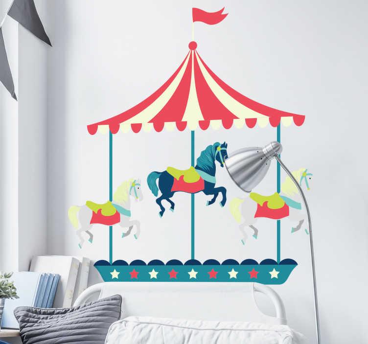 TenVinilo. Vinilo cabecero cama infantil carrusel. Vinilos decorativos para el cuarto de tus hijos con el dibujo de un tío vivo de feria, ideal para colocar en el cabezal de su cama.