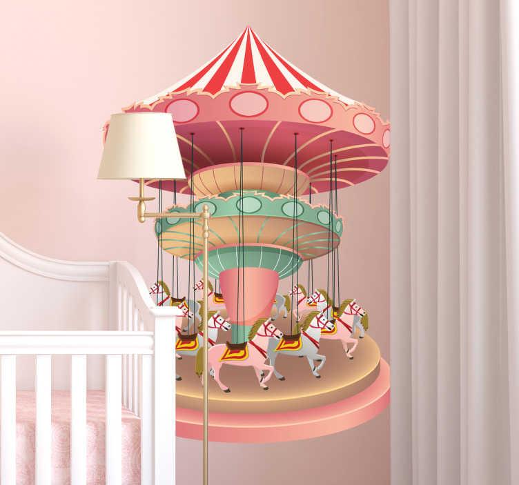 TenStickers. Sticker chambre fille carrousel coloré. Découvrez ce beau sticker coloré représentant un carrousel. Parfait pour décorer la chambre de votre enfant et apporter de l'originalité à la pièce.