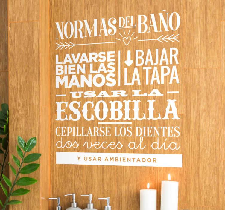 TenVinilo. Vinilo para baños normas. Vinilos decorativos para tu lavabo con una serie de normas básicas de comportamiento, ideal para familias.