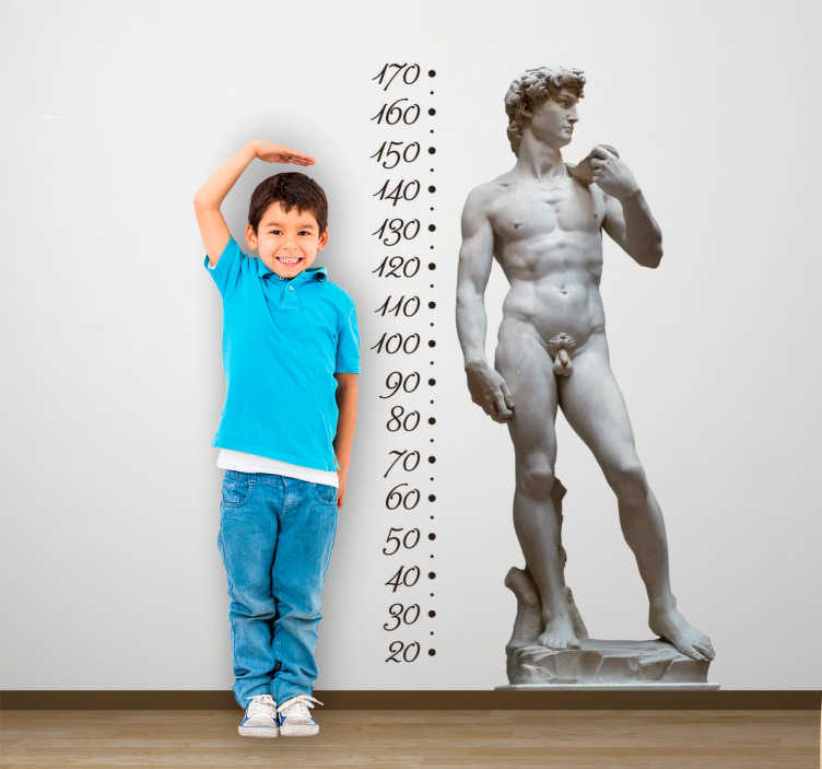 TenStickers. Adesivo metro David Michelangelo. Adesivo murale raffigurante il David, una delle opere più importanti di Michelangelo Buonarroti, uno degli artisti più importanti del rinascimento.