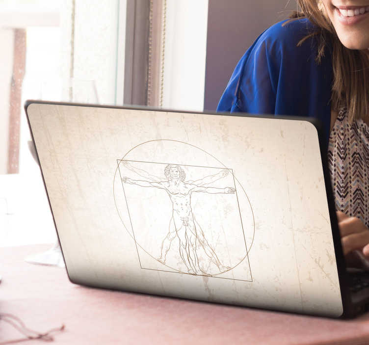 TenVinilo. Vinilo para portátil hombre vitruvio. Vinilo para portátil con la imagen del famoso Hombre de Vitruvio, un famoso dibujo de Leonardo da Vinci.