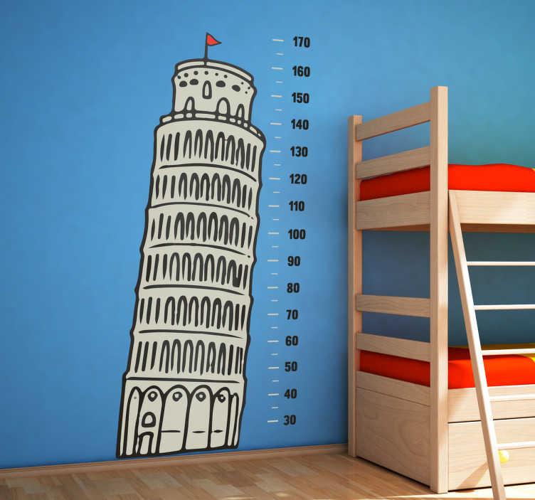 TenStickers. Skæve tårn i Pisa højdemål sticker. Få en af Italiens mange seværdigheder som sticker til børneværelset. Det skæve tårn i Pisa højdemåler sticker til børn.