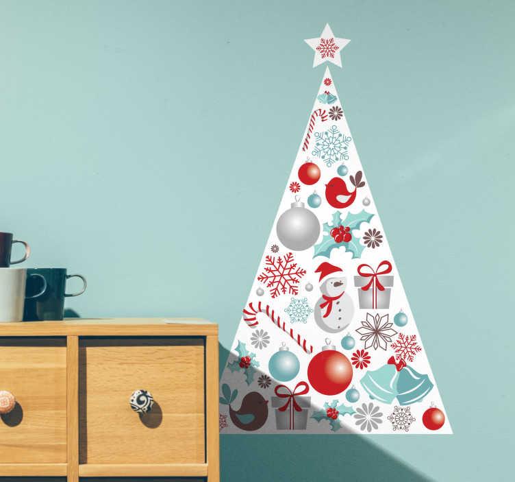 TenStickers. Adesivo albero di natale triangolare. Adesivo murale a pieno tema natalizio, raffigurante una albero di natale triangolare con tutte le sue tipiche decorazioni e i simboli tipici natalizi.