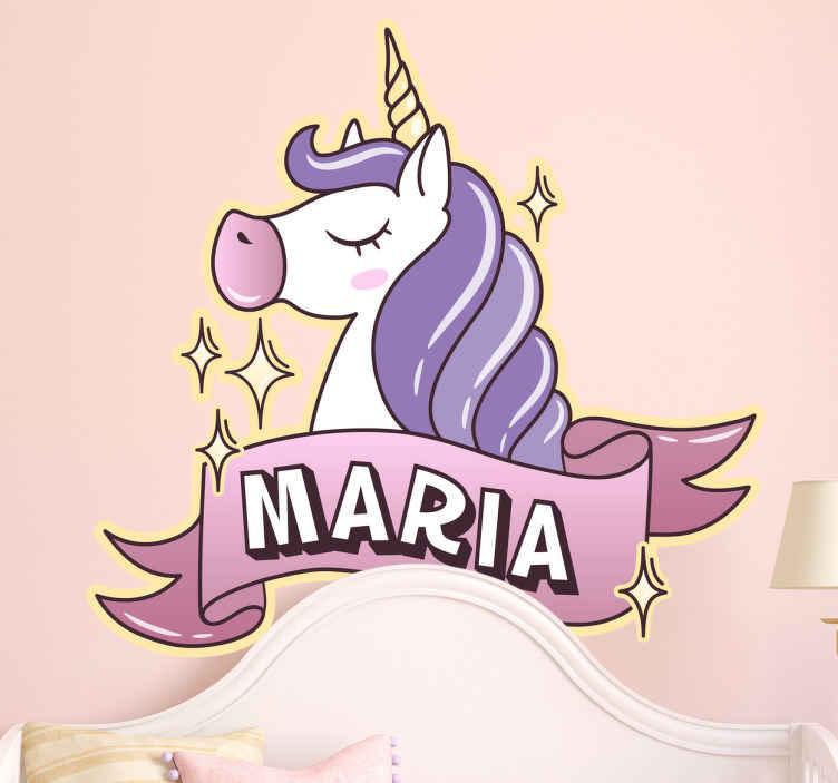 TenStickers. Personalizované děti se jmenují barevné nálepky. Personalizované samolepky - dětský unicorn obtisk, kde si můžete přizpůsobit jméno a dát jim svou vlastní vlastní nálepku na stěnu. Dívky jmenují lepidlo do ložnice přidá tolik dekorace do svého malého pokoje.