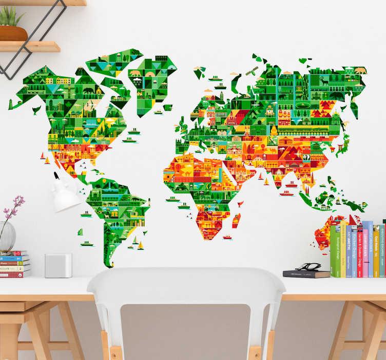 TenStickers. Muursticker wereldkaart geometrisch. Spectaculaire wereldkaart voor aan de muur met geometrische vormen en afbeeldingen van bekende plaatsen over de hele wereld.
