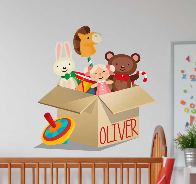 TenStickers. Autocolante de parede infantil caixa. Autocolante de parede infantil para decorar o quarto das suas crianças com este desenho de uma caixa cheia de brinquedos novos.