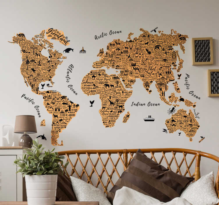 TenStickers. World with text world map sticker. World map wall sticker with a representation of the silhouettes of the continents outlined with the names of cities and most recognized places.