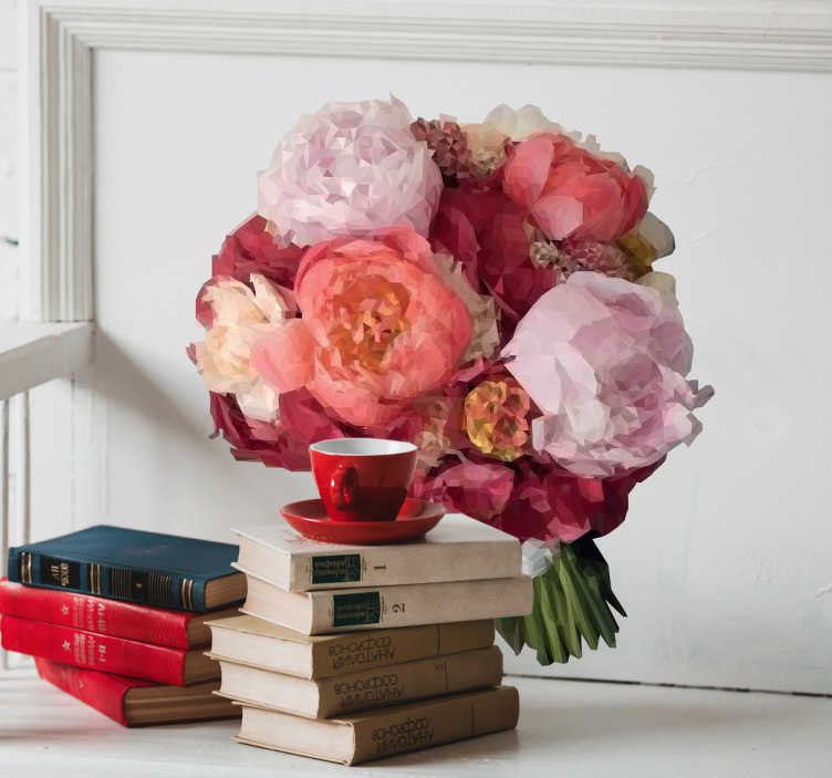 TenStickers. Wandtattoo polygonaler Blumenstrauß. Hübsches Wandtattoo mit einem kleinen Blumenstrauß aus Pfingstrosen in polygonaler Optik