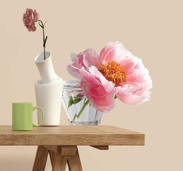 TenStickers. Wandtattoo polygonale Blume im Glas. Schönes Wandtattoo mit einer pinken Blume in einem Glas im polygonalem Stil. Bringen Sie den Frühling in Ihr Wohnzimmer.