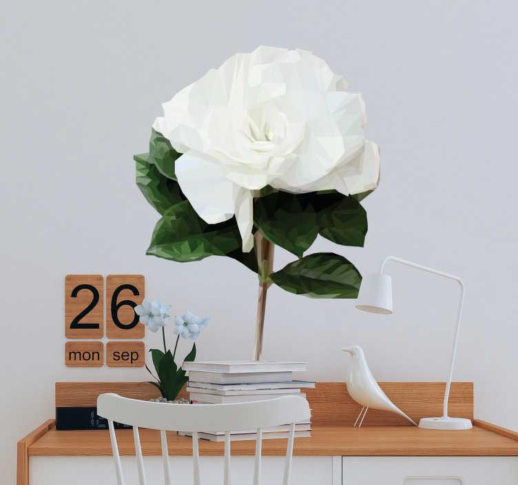 TenStickers. Muursticker witte roos polygonaal. Fleur uw kamer op met deze fraaie geometrische muursticker. Een decoratieve sticker van een witte roos die u overal kunt plaatsen.