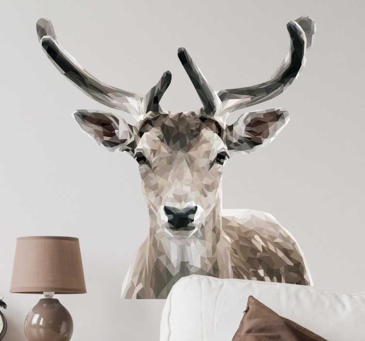 TenStickers. Muursticker hert portret geometrisch. Geometrische muursticker met het portret van een hert, een originele wanddecoratie. Sfeervol als kerstdecoratie, maar ook voor de rest van jaar.