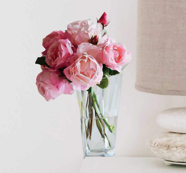 TenStickers. Wanddtattoo polygoniale Rosen im Glas. Schönes Wandtattoo mit einem Strauß Rosen in einem Glas in polygonialer Optik. Verschönert Ihr Schlafzimmer.