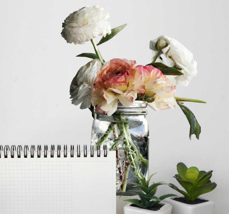 TenStickers. Wandtattoo polygonaler Blumenstrauß im Glas. Schönes, geometrisches Wandtattoo mit einem Strauß Blumen im Glas. Schöne Dekorationsidee für das Wohnzimmer oder die Küche.