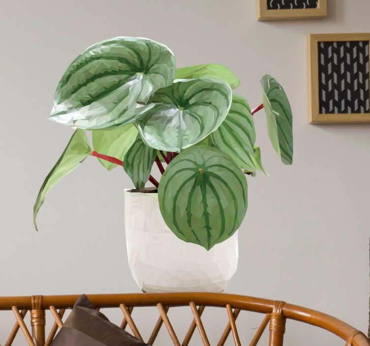 TenStickers. Muursticker geometrisch tropische plant. Mooie geometrische muursticker van een tropische plant in een pot. Fraaie wanddecoratie om groen in uw huis te brengen.