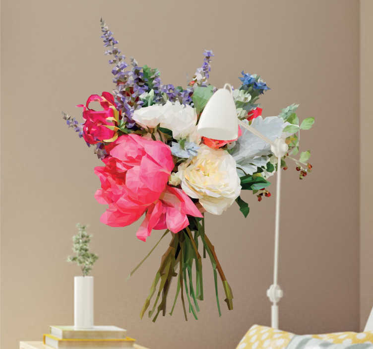 TenStickers. Naklejka geometryczny bukiet kwiatów. Naklejka na ścianę z winyluktóra przedstawia geometryczny bukiet kolorowych i pięknych kwiatów Idealnie przyozdobisz i nadasz koloru ścianą w Twoim domu, w sypialni, jadalni, salonie czy gdzie tylko zechcesz