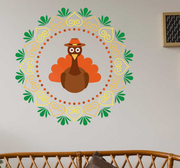 TenStickers. Thanksgiving turkey wall sticker. Beautiful thanksgiving wall sticker with the motif of a turkey. This wall sticker will guarantee that you and your family will get into the right mood