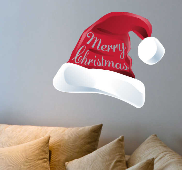 TenStickers. Santa hat wall sticker. This Santa hat is the perfect decoration for Christmas. Get the right atmosphere in your home with this iconic decal